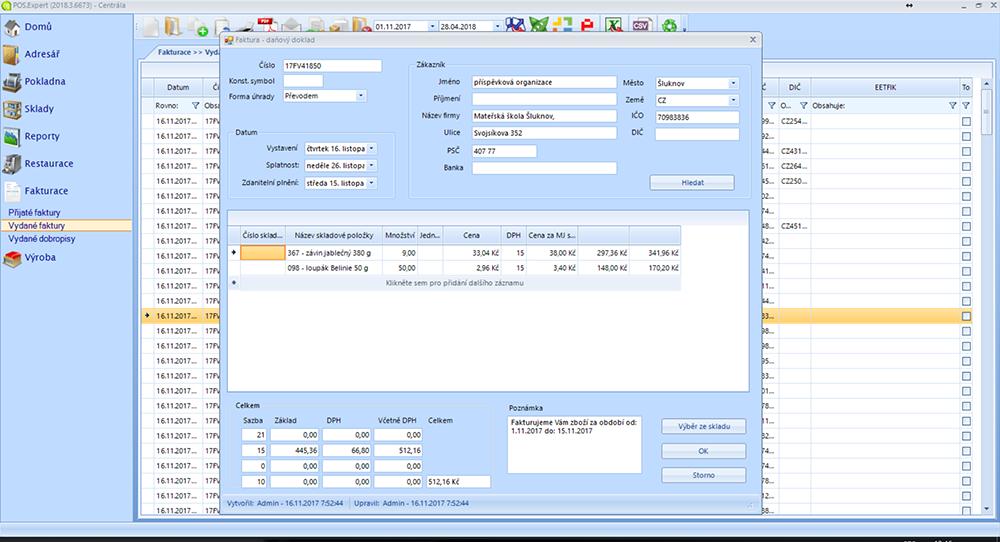 screenshot POS Expert faktura