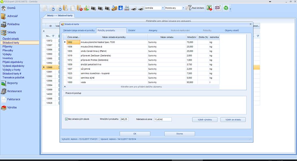 screenshot POS Expert receptury