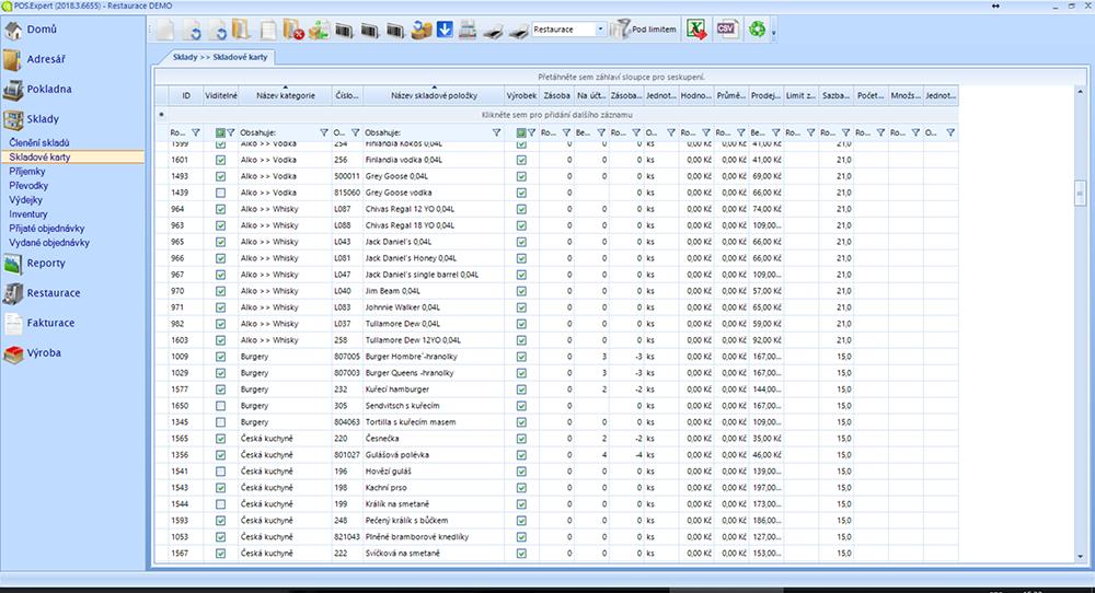 screenshot POS Expert skladové karty