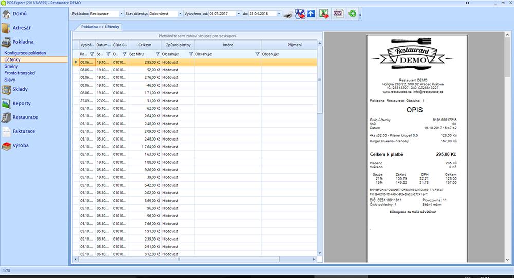 screenshot POS Expert účtenky