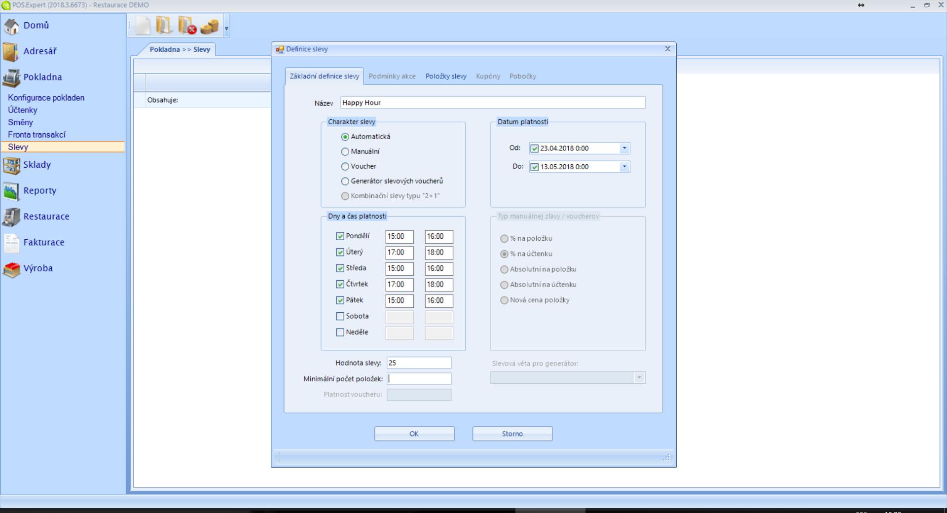 screenshot POS Expert slevový systém